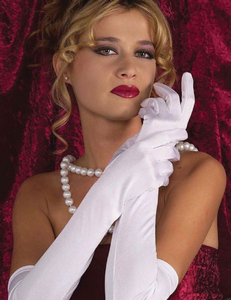 Flapper Gloves White 20s 30s Gangsters Moll Fancy Dress Accessory